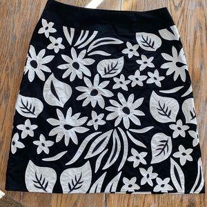 LIZ CLAIBORNE cotton embellished skirt/side zip
